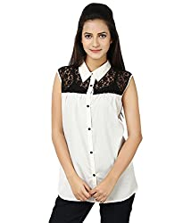Whistle Women's Net & Georgette Black and White Casual Sleeveless Solid Top