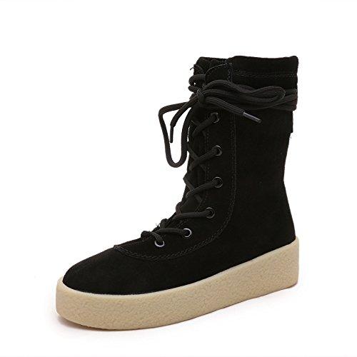 Europa e il vento in autunno e inverno stivali scarpe da donna in pizzo glassato stivali da neve con piatto stivali donna , black , 39