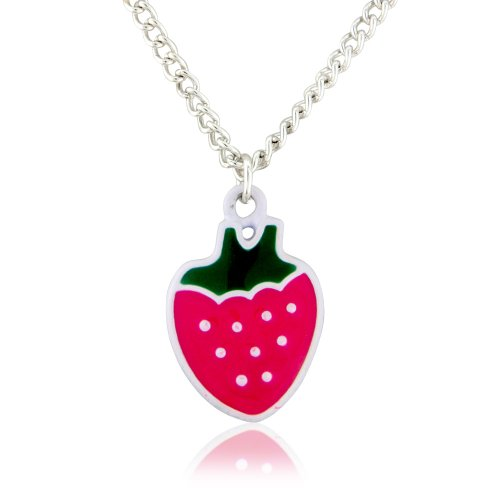 Pink strawberry pendant necklace - children's fashion necklace matching earrings and ring available - includes pretty pink gift bag