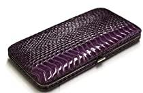 PURPLE SNAKE SKIN HARD CASE FLAT WALLET CLUTCH BY DESIGNSK