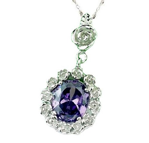 Rhodium Plated 925 Sterling Silver Amethyst Diamond Accent Pendant Necklace with 18