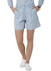 Chumbak Women's Cotton Shorts (CHWS003 M_Blue_M)