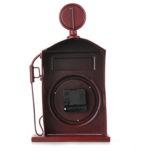 Lily's Home Antique Inspired English Red Gas Pump Mantle Clock 13 Inch 2