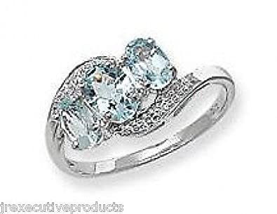 White Gold Real Aquamarine & Diamond Trilogy Ring (available in sizes J - S )