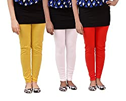 carrol Women Leggings(Combo of 3 Red, Yellow and White)