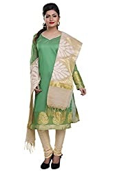 Rajnandini women's Silk Unstitched salwar suit Dress Material ( Green_Free Size)