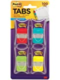 Post-it Tabs, 1-Inch Solid, 4 Assorted Colors, 25-Tabs/Dispenser, 4-Dispenser/Pack (686-RALY)