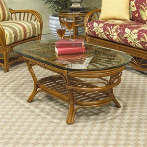 Antigua Rattan Coffee Table w Glass Top in Royal Oak
