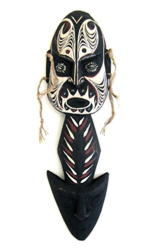 OMA® African Mask Protection From Evil Blessing Shield Wood Carved Wall Hanging Decor LARGE 22
