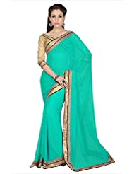 Designersareez Women Teal Green Chiffon Saree With Unstitched Blouse (1712)