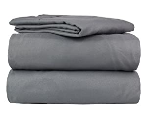 100% Egyptian Quality Four (4) Piece Luxury Soft Bed Sheet Set with 2 Standard Pillow Cases (Full, Grey)