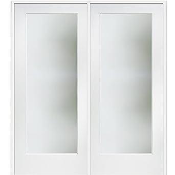 National Door Company Z009318r Primed Wood Prehung In Swing Interior Double Door Frosted Glass