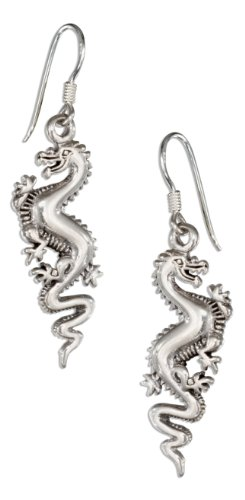 Sterling Silver Dragon Earrings on French Wires
