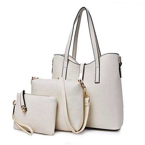 women-3-piece-tote-bag-set-pu-leather-shoulder-handbags-purse-messenger-bags-white