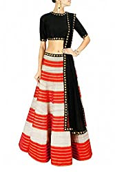 Georgette Party Wear Lehenga Choli in Black and Red Colour