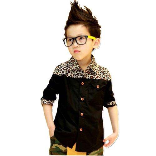Little Hand Kids Boys Leopard Print Tops Slim Colorblock T-Shirt 3-8 Y 4T front-928013
