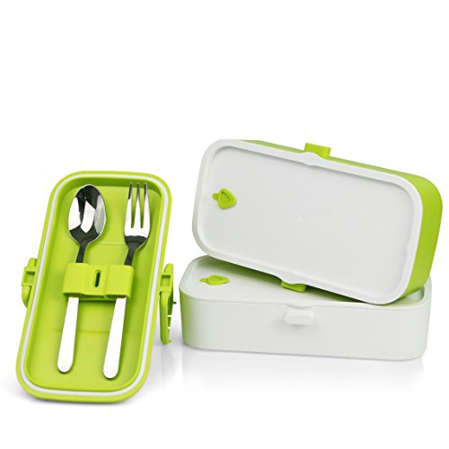 bento lunch box with fork spoon compact bento box that 39 s stylish fda approved bpa free. Black Bedroom Furniture Sets. Home Design Ideas