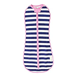 The Original Woombie Baby Cocoon Swaddle (Newborn (5-13 lbs), Navy Stripe Girl)