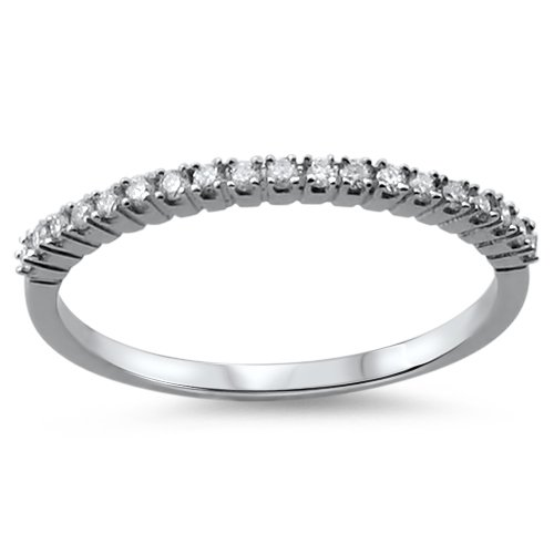0.15 carat Round Brilliant Cut Diamonds Half Eternity Ring in 9K White Gold