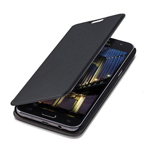 kwmobile Cover Flip Case per Samsung Galaxy J5 - Custodia protettiva richiudibile in stile flip cover in nero