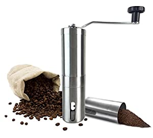 Manual Coffee Grinder with Ceramic Burr - High Quality Hand Coffee Burr Hand Coffee Mill with Precision Conical Burr, Adjustable, Portable, Stainless Steel, Slim Design By All One Tech from All one tech