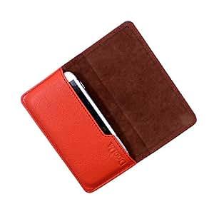 Dooda Genuine Leather Flip Pouch Case For Videocon Infinium Z50Q Lite (ORANGE)
