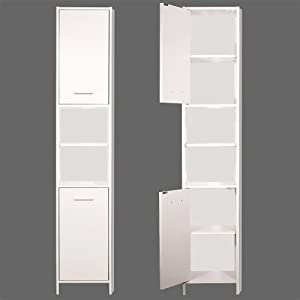 tall bathroom cabinet cupboard white large storage shelf shelves