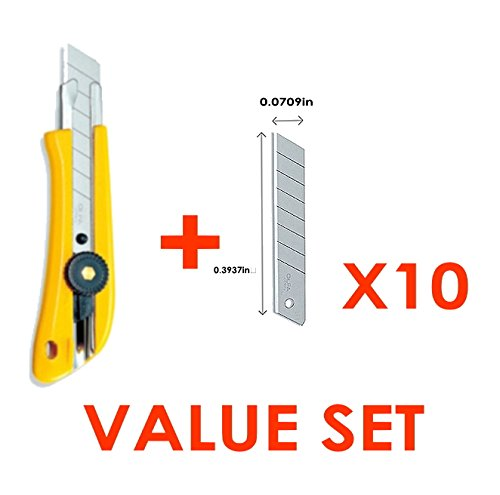 The Maximum Sharpness / Made In Japan /Olfa 18Mm Stainless Steel Ratchet-Lock Heavy-Duty Utility Knife & 18Mm Snap-Off Heavy-Duty Silver Blade, 10-Pack Value Set (With Our Shop Original Description Of Goods)