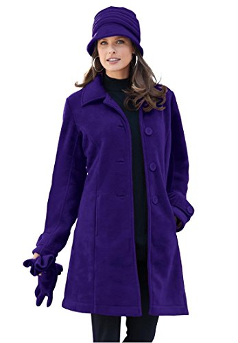 Roamans Women's Plus Size Big Button Fleece  Jacket