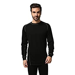 Sportown Men\'s Merino Wool Lightweight Long Sleeve Crew Base Layer Top,M