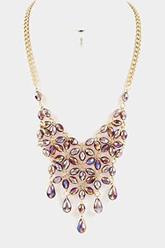 Glitz Finery Crystal Floral Bib With Dangle Necklace (Purple)