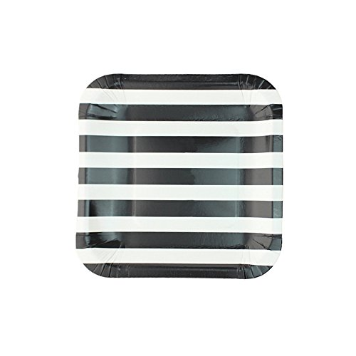 Vivi.S 7'' Square Party Dinner Paper Plates Stripe Party Decoration Supplies Pack Of 12 BLACK (Black Stripe Dinner Plates)