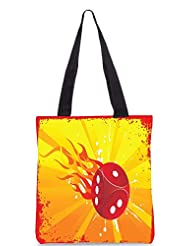Snoogg Abstract Grunge Frame Of Vector Dice Designer Poly Canvas Tote Bag