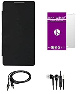 John Wilson Micromax A114 Canvas 2.2 Flip Cover Mobile Essentials Basic Kit - Black + Screen Cover + Ear Phone + Aux Cable