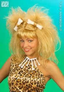 Ladies Cavewoman with 2 Bones Wig for Hair Accessory Fancy Dress