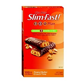 Slimfast 100 Calorie, Peanut Butter Crunch Time, Snack Bar, 24-Count