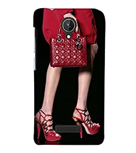 Printvisa Lady In Red With A Bag Back Case Cover for Micromax Canvas Spark Q380