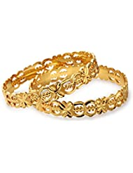 Vedika Jewellery Designer Gold Plated Flower Cut Alloy Bangles Set For Women(Set Of 2)(Sizes 2.10, 2.8, 2.6 And...