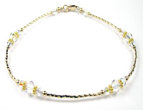 Damali WHISPERS Anklets: Crystal Diamond April 14kt Gold Filled Adjustable Swarovski Crystal Anklets.