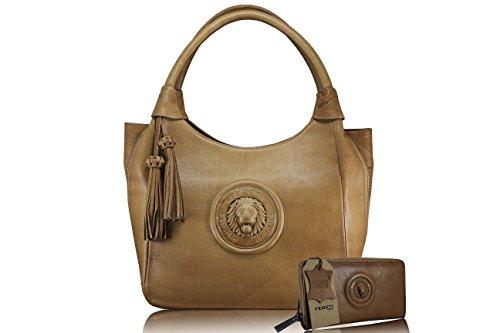 FERETI borse con portafoglio corrispondente marrone chiaro da donna vera pelle Leone 3D e nappa