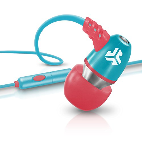 Jlab Jbuds Neon Metal In-Ear Earbuds With Universal Mic For Iphone & Android (Coral/Teal)