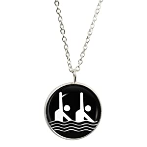 Athletic Synchronised Swimming Symbol Pendant and Silver Plated Necklace Set