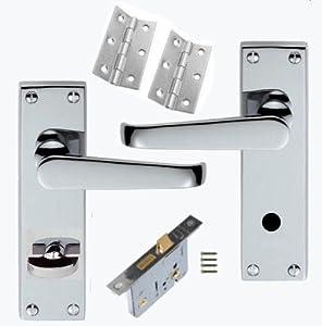 victorian polished chrome bathroom door handles 76mm lock set 3 hinges diy