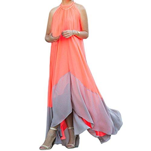 EFINNY Women's Chiffon Halter Summer Irregular Boho Long Evening Party Maxi Dress