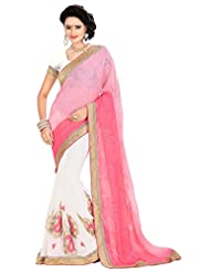 Parisha Latest Collection Of Printed Sarees In Georgette Fabric & In Attractive White Color