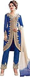 SK Fashion Women's Blue Georgette Anarkali Unstitched Salwar Suit Dress Material (Dress_180_FreeSize_Blue_Blue)