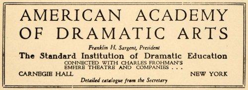 1923 Ad Academy Dramatic Arts Drama Theatre Frohman - Original Print Ad