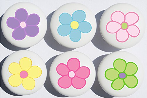 Pastel Daisy Flower Drawer Pulls / Ceramic Nursery Drawer Knobs, Set of 6 (Pastel Drawer Knobs compare prices)