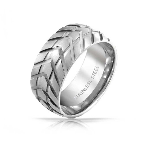 Bling Jewelry Mens Band Stainless Steel Tire Tread Style Grooved Ring