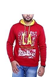Griffel Men's Fleece Sweatshirt (Medium, red)